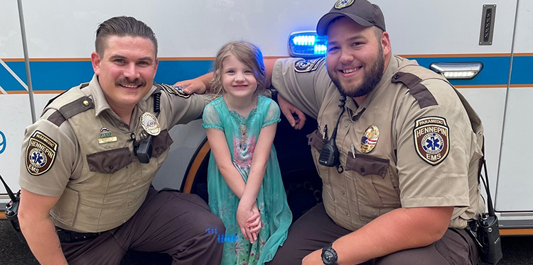 Caring in our communities – paramedics re-unite with 5-year old Cora, a lucky girl brought to our Level 1 Pediatric Trauma Center